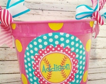 ON SALE personalized 10 QUART softball bucket in pink, teal and yellow