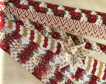 "5/8"" 1"" Weaving Star Paper~ Deep Red & Gold Flowers Dots Chevron (52 strips)"