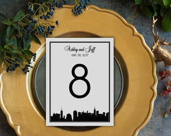 Classic Manhattan Skyline Table Number Cards