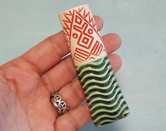 Magnetic Pottery Bud Vase and Pen Holder - Porcelain Bud Vase --Wavy Emerald Green Pattern and Red and White Graphic Pattern