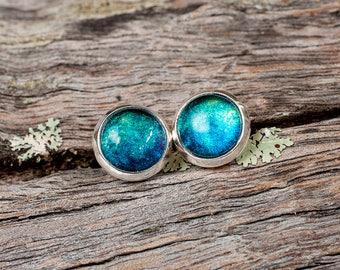Hand painted aqua blue green stud post earrings