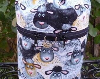 Sheep knitting bag, drawstring bag, knitting in public bag, small project bag Barnyard Sheep, Kipster