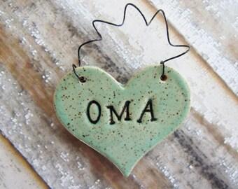 Oma Ornament - OMA - ceramic clay - heart shaped - personalized, handmade, ready to mail