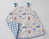 Girls' Dog Walking Dress, Girls' Dress, Toddler Dress Girls' Pinafore, Red White & Blue Sundress,  Size 12 - 18 months