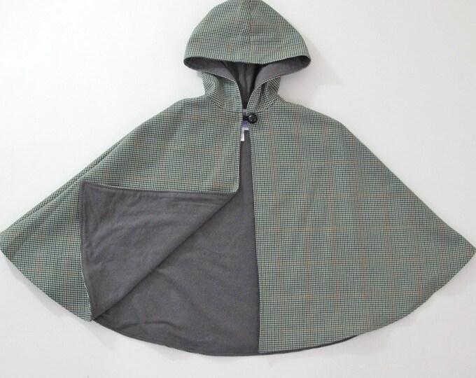 Sherlock Holmes Halloween Costume, Girls Cape, Boys Cape, Inverness Cape, Plaid Cape, Wool Cape, Hooded Cape, Boys Cloak, Size 7/8