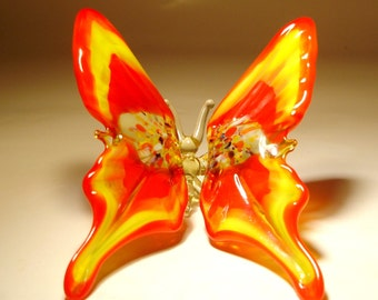 Blown Glass Figurine Art Insect Red and Yellow BUTTERFLY