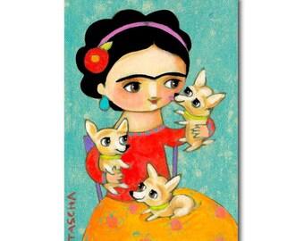THREE Chihuahuas with FRIDA Kahlo cute chihuahua portrait painting dog folk art by TASCHA