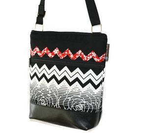 iPad Bag Faux Leather Crossbody Purse - Shoulder Bag Tablet Purse - Cross Body Bag TABLET POCKET- BORSETTA - Elegant Chevron Fabric