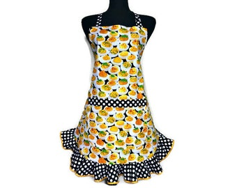Deviled Eggs Apron for Women with Black and white Polka Dot ruffle, Retro kitchen decor, Adjustable with pocket
