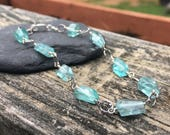 Apatite Gemstone Sterling Silver Bracelet, Genuine Semiprecious Stone Gem, Wire Wrap, Teal Blue Green, 7 1/3 inch, Hammered Silver Ovals