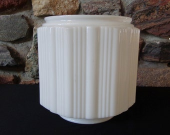 Vintage White Milk Glass Art Deco Skyscraper Light Fixture Glass Shade Globe