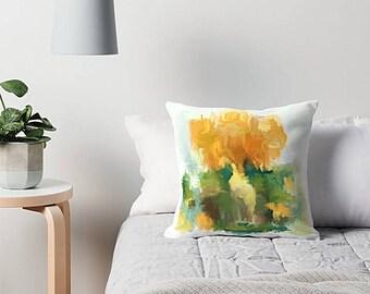 Golden Yellow, Throw Pillow, Mustard Yellow, Art Pillow, Dark Green, Sofa Pillow, Modern Throw Pillow, Abstract Pillow, Toss Pillow