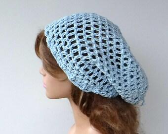 Hemp cotton slouchy beanie, ice blue snood hemp cotton slouchy hat, summer slouchy woman beanie spring hat, open stitch hat in light blue