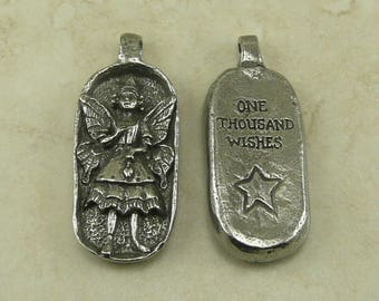 Thousand Wish Fairy Green Girl Charm Pendant - Heart Fantasy Sprite Woodland Creature - American Artist Made Lead Free Pewter Silver 238