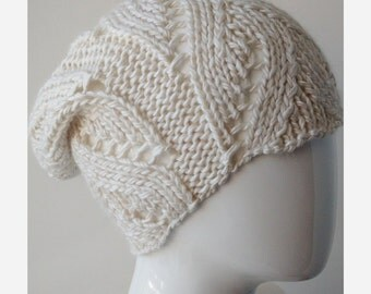Slouch Hat, Women's Hat, Hand Knit Merino Wool and Silk Winter Hat, IVORY, Hygge