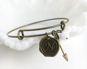 Bronze initial bangle bracelet, Follow your arrow bracelet, wax seal charm, arrow charm bracelet, best friend bracelets, personalized gift