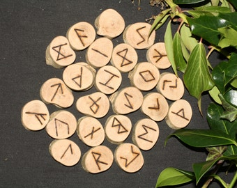 Unusual Camellia Wood Elder Futhark Runes For Divination, Pagan, Wicca, Witchcraft, Pyrography, Norse