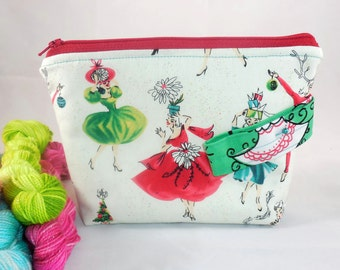 Christmas Party wee zippy bag by AnniePurl