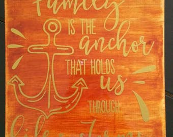 Wood plaque with great family quote