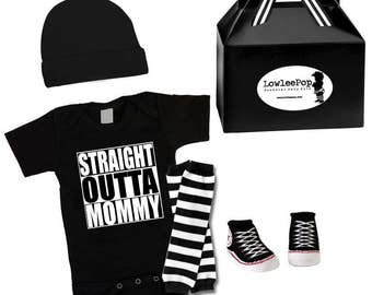 Rockstar Baby Kit Straight outta mommy compton onesie hat leg warmers and sneaker booties