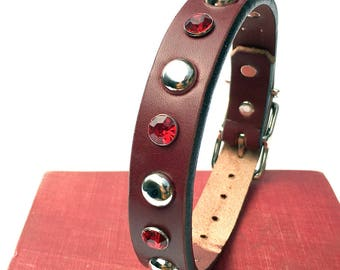 Red Wine Leather Dog Collar with Giant Red Rhinestones and Silver Studs, Size S/M, to fit a 13-16in Neck, Thick Leather Collar, EcoFriendly