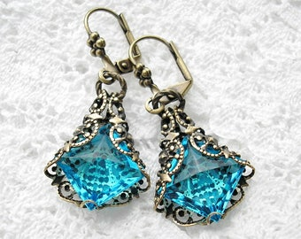 Out of the Mist - Aquamarine Earrings Filigree Wrapped Glass Jewel Earrings