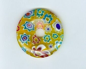 40mm Millefiori Donut 40mm Yellow Red Blue Millefiori Glass Pi Donut Focal Pendant Flower Bead 492B