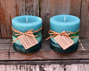 SALE: Pair of Yacht Salt Scented Small Cylinder Candles