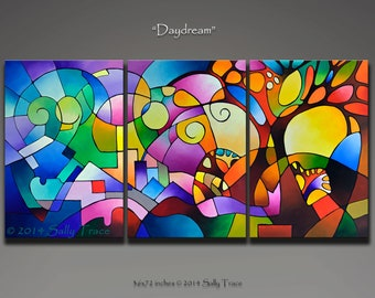 "Abstract painting, geometric painting, acrylic painting, triptych landscape painting, geometric art, large wall art, 36x72"", Daydream"