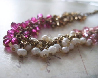 Beaded Necklace, Repourposed Jewelry, Tiny Beads, Fushia Pink Pearls, Brass Chain, Bronze Beads, Cluster of Breads, candies64