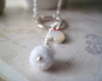 Snowball Necklace, Mother of Pearl, Sterling Silver, Lampwork Bead, Snowball Bead, Charm Necklace, Rolo Chain, candies64