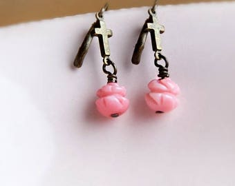 ON SALE Blushing PInk Rose Coral Cross Earrings