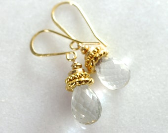 Luminous Crystal Quartz, Vermeil Accented Simple Drop Earrings...