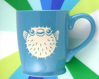 Puffer Fish Mug - porcupine fugu coffee cup - Choose Your Color