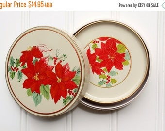 BIG SALE - Vintage Lacquerware Coaster Set - Melmac - Melamine - Poinsettias - Holiday Christmas