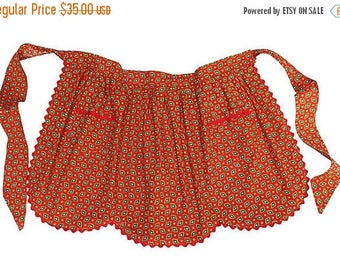 BIG SALE - Vintage Half Apron - Red with Ric Rac - Scallop Edging - Pretty Red Apron with Pockets