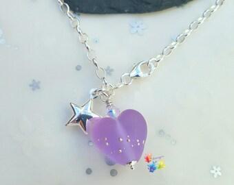 Sterling Silver Bracelet, Purple Heart Charm, Star Charm, purple heart, lavender, charm bracelet, sea glass, matt, frosted