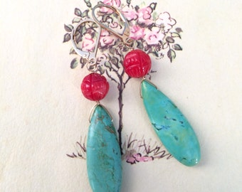 Summer Earrings, Turquoise and Coral Dangle Earrings