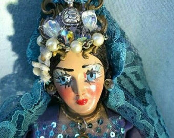 Atlantian Queen, 10 inch, art doll, art doll, folk art, nautical, sea, Goddess, avant-garde, Dame Darcy, lolita, fantasy, Victorian,