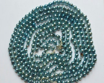 Vintage Glass Beaded Garland Strand in Aqua Color For Feather Christmas Tree, Paper Stars on End, 8 Foot Long