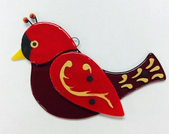 Fused Glass Bird Suncatcher (Red Cardnial Christmas Ornament)