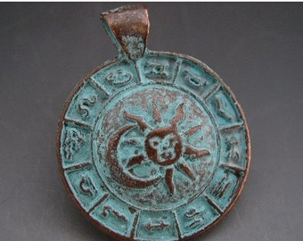 SALE 34mm Mykonos Astrological Symbols Zodiac Pendant Greek Copper Antiqued Green Turquoise Sun Moon Naos