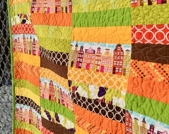"Quilt hand made ""Sunshine in the City"" SALE"