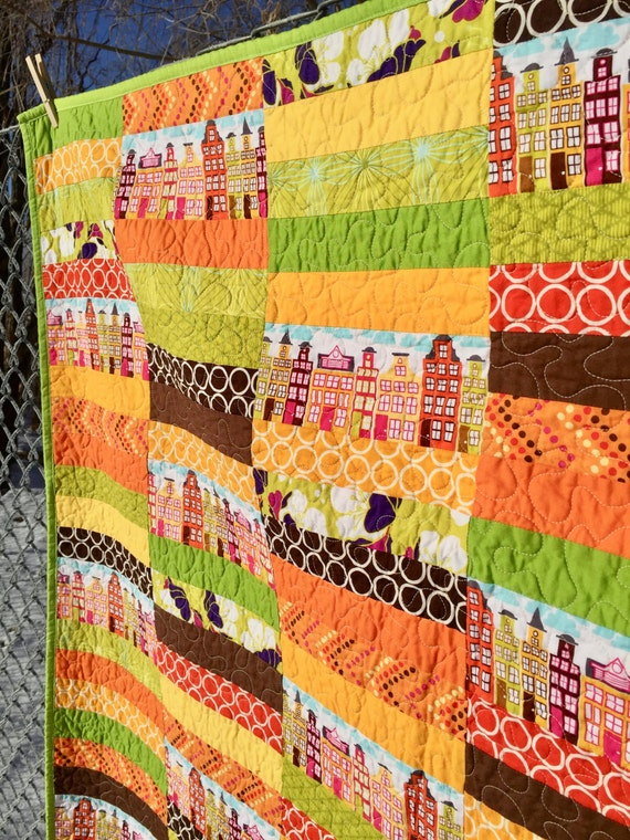 "Quilt hand made ""Sunshine in the City"""