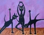Cat Art - Yoga Cats in Lavender - 5x7 Print of Cats doing yoga - Yoga Decor - Yoga Art - Yoga Gift - Gift for Cat Lover - Funny Cat Art