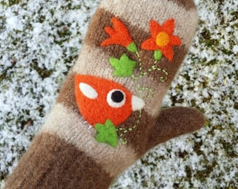 Felted mittens brown striped wool hand knit with needle felted orange birdie birds pumpkin flowers size medium-LARGE