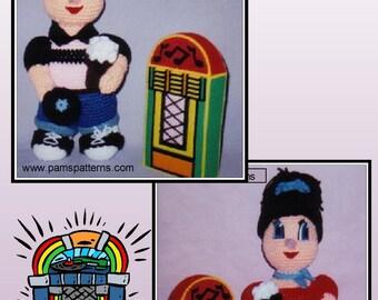 Crochet Patterns 1950 Dolls, crochet rock & roll, plastic canvas jukebox, crochet root beer