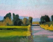 Small Landscape, Oil Painting, Country Road, Field Trees, Rural Scene, Green Pink, Lavender Yellow, Blue, Little 5x7 Canvas, Original