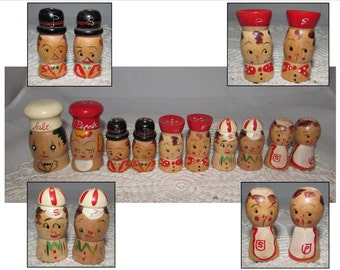 Set of FIVE Vintage Wooden Salt & Pepper Shakers, Salty Peppy, Family of 4, Mom, Dad, Boy, Girl, kitchen decor, cute