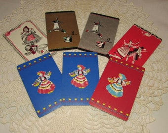 Lot of 7 Vintage Playing Swap Cards, Dutch, Holland, Peasants, Trading, Scrapbooking, paper ephemera